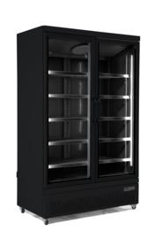 Flessenkoelkast | Glasdeurkoelkast met 2 deuren zwart  1000 Liter