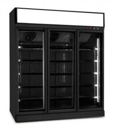 Bedrijfskoelkast met 3 glazen deuren zwart 1530 Liter