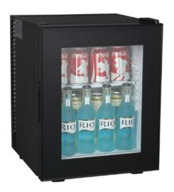 Stille Minibar zwart met glasdeur  35 Liter