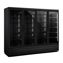 Glasdeurkoelkast met 4 glazen deuren Zwart  2025 liter