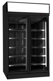 Bedrijfskoelkast met 2 glazen deuren zwart 1000 Liter