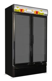 Glasdeurkoelkast met 2 deuren zwart 780 Liter