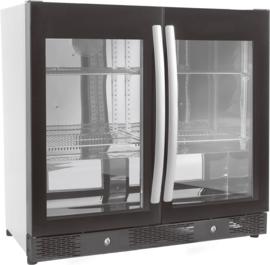 Barkoeler | Barkoelkast 2 deuren zwart 198 Liter 84cm hoog