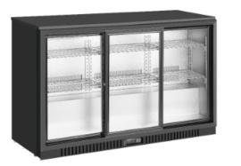 Backbar | Barkoeling zwart met 3 schuifdeuren 86,5 cm hoog