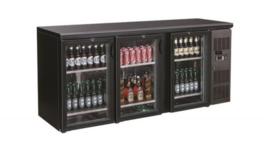 Barkoeling | Onderbouwkoelkast 3 glasdeuren zwart 537 Liter 86cm hoog