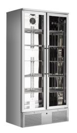 Barkoelkast | Flessenkoeling hoog model RVS 2 glasdeuren
