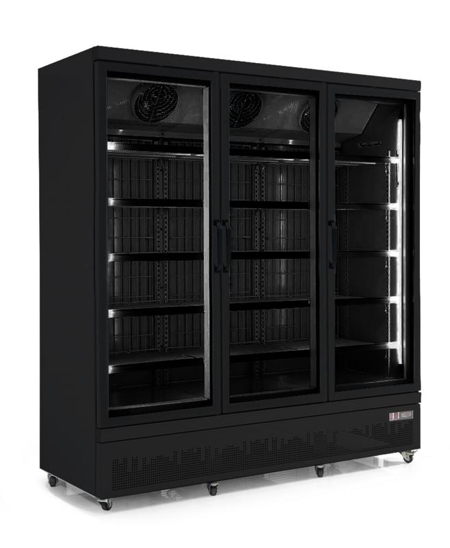 Glasdeurkoelkast met 3 glazen deuren Zwart  1530 liter