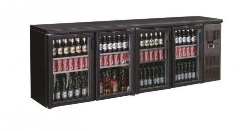 Barkoelkast | Onderbouwkoeling 4 glazen deuren zwart 86 cm hoog
