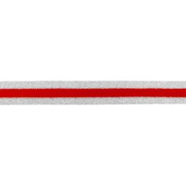 broekstreep rood-zilver lurex