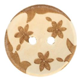 Houten Knoop Met Bloemen 28 mm