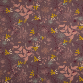 French Terry Organic Flowers Mauve