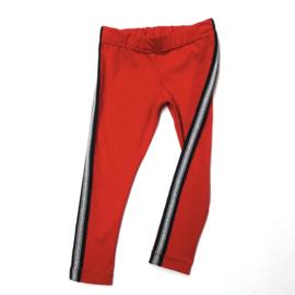 rode legging met zilveren glitterstreep