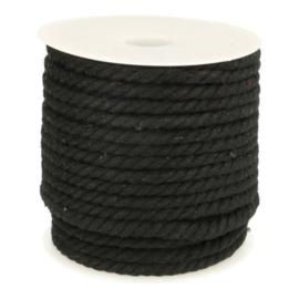 Gedraaid Koord 6 mm Zwart
