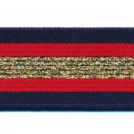 Polyamide Elastiek Donker Blauw Rood Goud Lurex 30 mm
