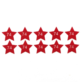 Maatlabels ster rood