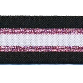 Polyamide Elastiek Zwart Wit Roze Lurex 30 mm