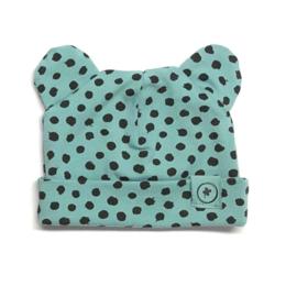 babymutsje met oortjes old blue dots