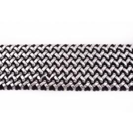 elastiek met gevlochten leer zilver 65 mm