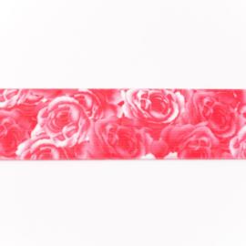 Bedrukte Elastiek Roze Roos 40 mm
