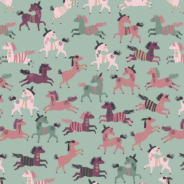 french terry glitter horses mint