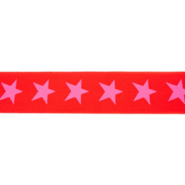 polyamide elastiek ster rood-roze 40 mm