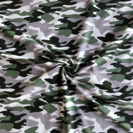 French Terry Brushed Camouflage Taupe-Green