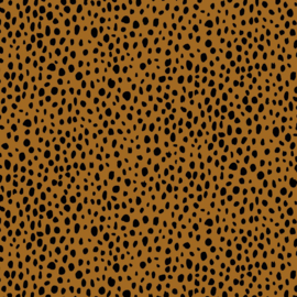 French Terry Rain of Dots Light Brown