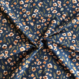 French Terry Aquarel Flowers Dark Jeans