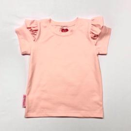 T-shirt met flutter licht roze