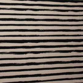 Coupon Jersey Stoere Strepen Zwart - Wit 0.96 x SB