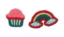 set patches regenboog en cupcake gehaakt