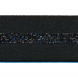 Polyamide Elastiek Zwart Zwart Lurex 30 mm