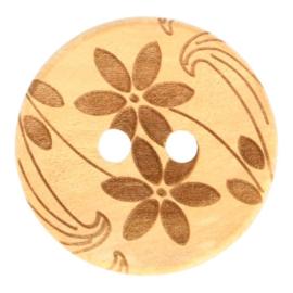 Houten Knoop Met Bloemen 25 mm