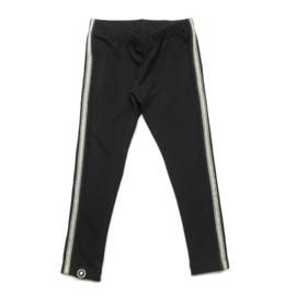 zwarte legging met zilveren glitterstreep
