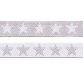 sierband wit - grijs sterren 12 mm