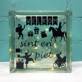 Sint en Piet Glasblok met Verlichting