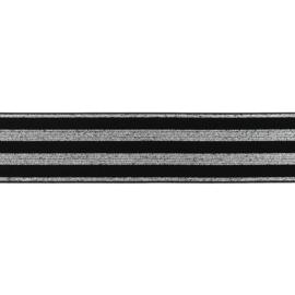 polyamide elastiek zwart zilver lurex 40 mm