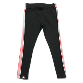 zwarte legging met roze glitterstreep