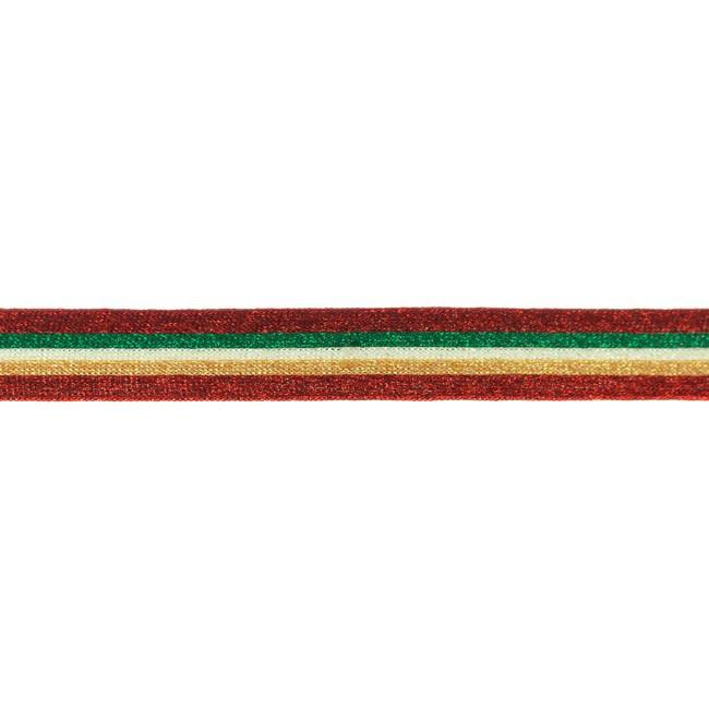 broekstreep rood-wit-groen-goud lurex