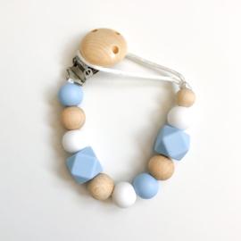 Speenkoord   Babyblauw, wit, hout
