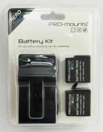 PRO-mounts Battery Kit Hero5* & Hero6* & Hero7* Black