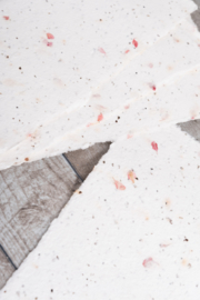 Handgeschept papier met droogbloemen en zaadjes