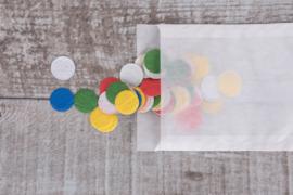 Uitdeelzakje confetti 50 stuks bonte rondjes