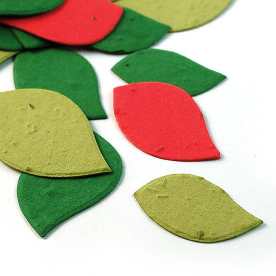 Uitdeelzak 10 stuks blaadjes kerstkleuren met bloemetjes