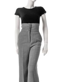 Josep Font Hoge Taille-broek in zwart-wit Ruitje