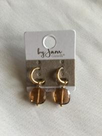 By Jam Gioielli oorbellen - bruin goud