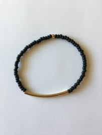 Lief Label armband - black mat tube gold