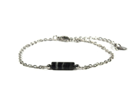 Winkel van Indah armband - tube blackstone zilver
