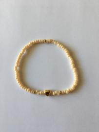 Lief Label armband - beige heart gold