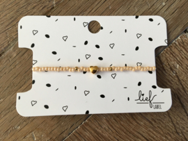 Lief Label armband - beige heart gold